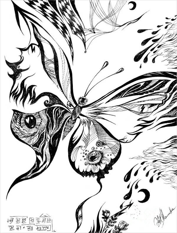 600x788 Butterfly Drawings, Art Ideas Free Amp Premium Templates