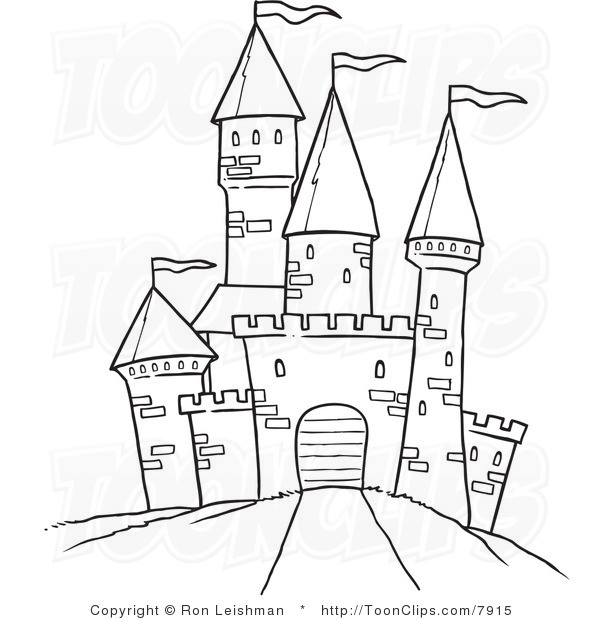 600x620 Draw Castle White Line Drawing Of A Path Leading To A Castle