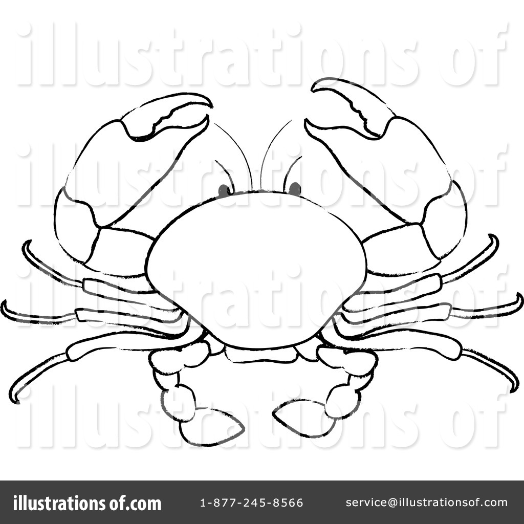 1024x1024 Crab Clipart Line Drawing