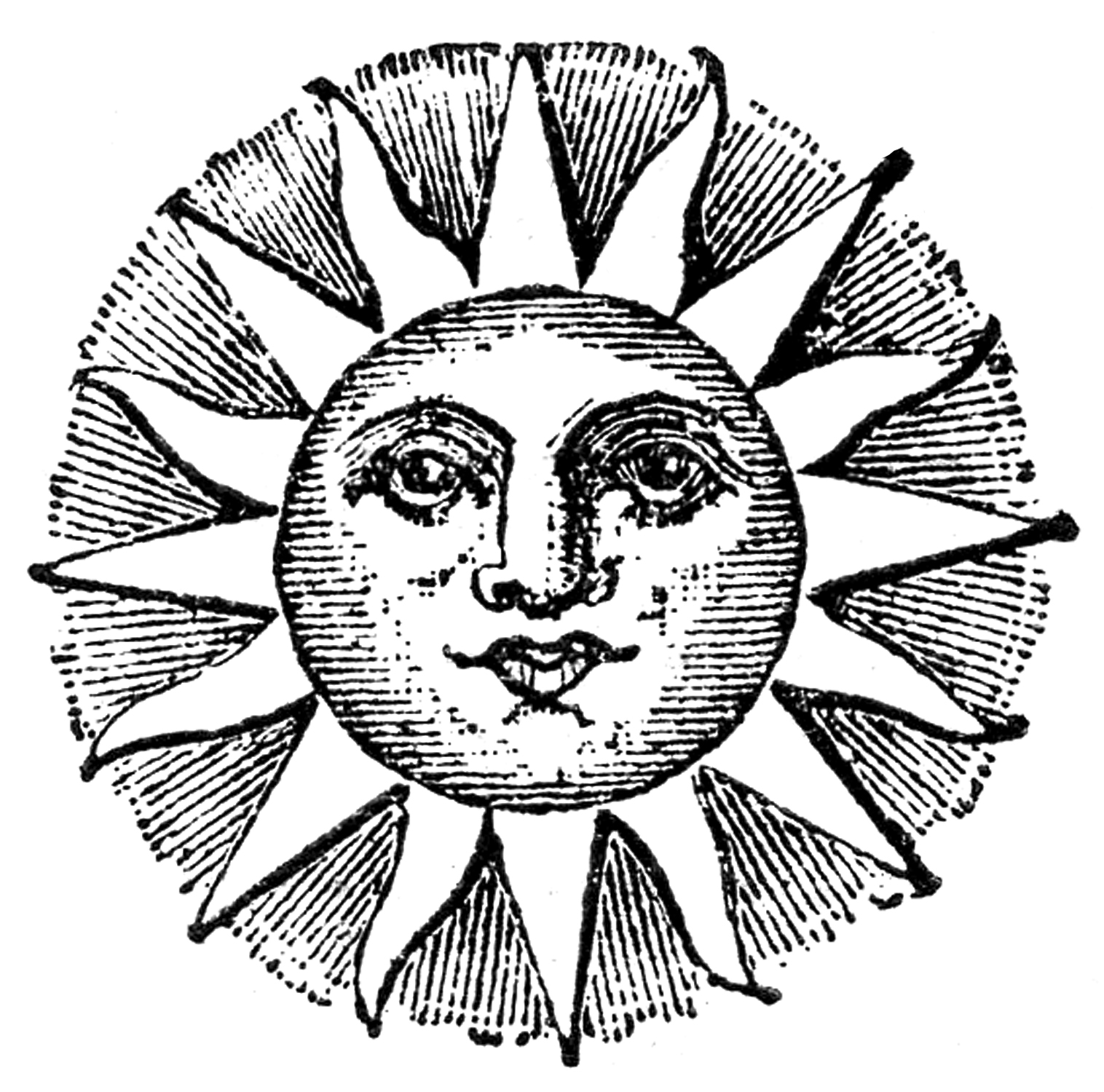 1516x1500 Sun Face Line Drawings Clipart