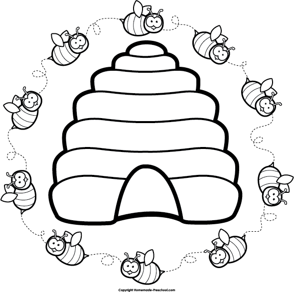 590x586 Bee Hive Clipart Line Drawing
