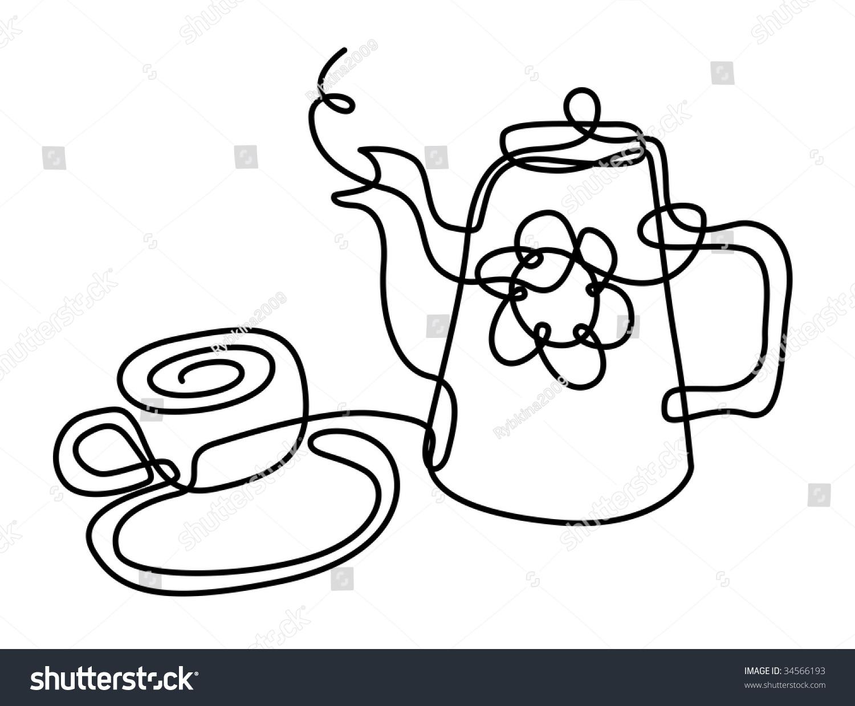 1500x1239 Drawn Mug Line Drawing