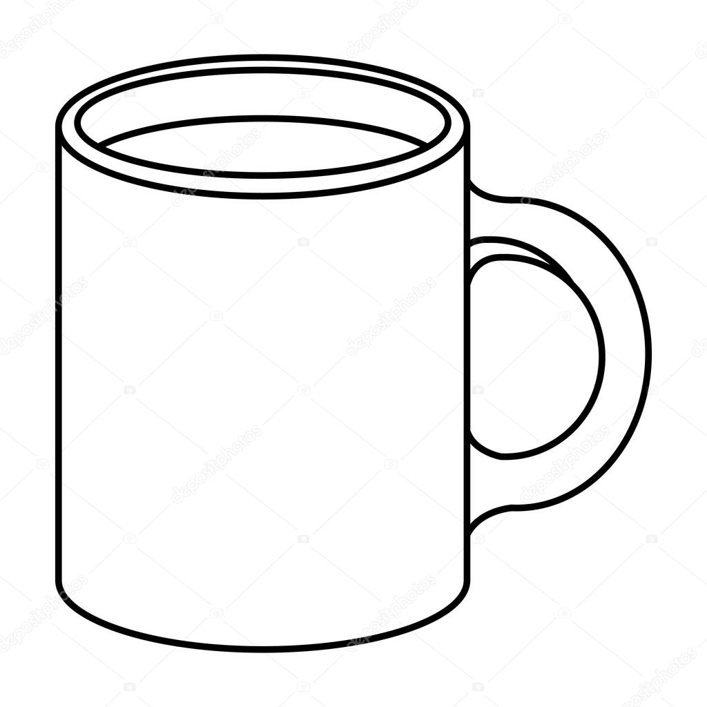 1024x1024 Isolated And Silhouette Coffee Mug Design Stock Vector