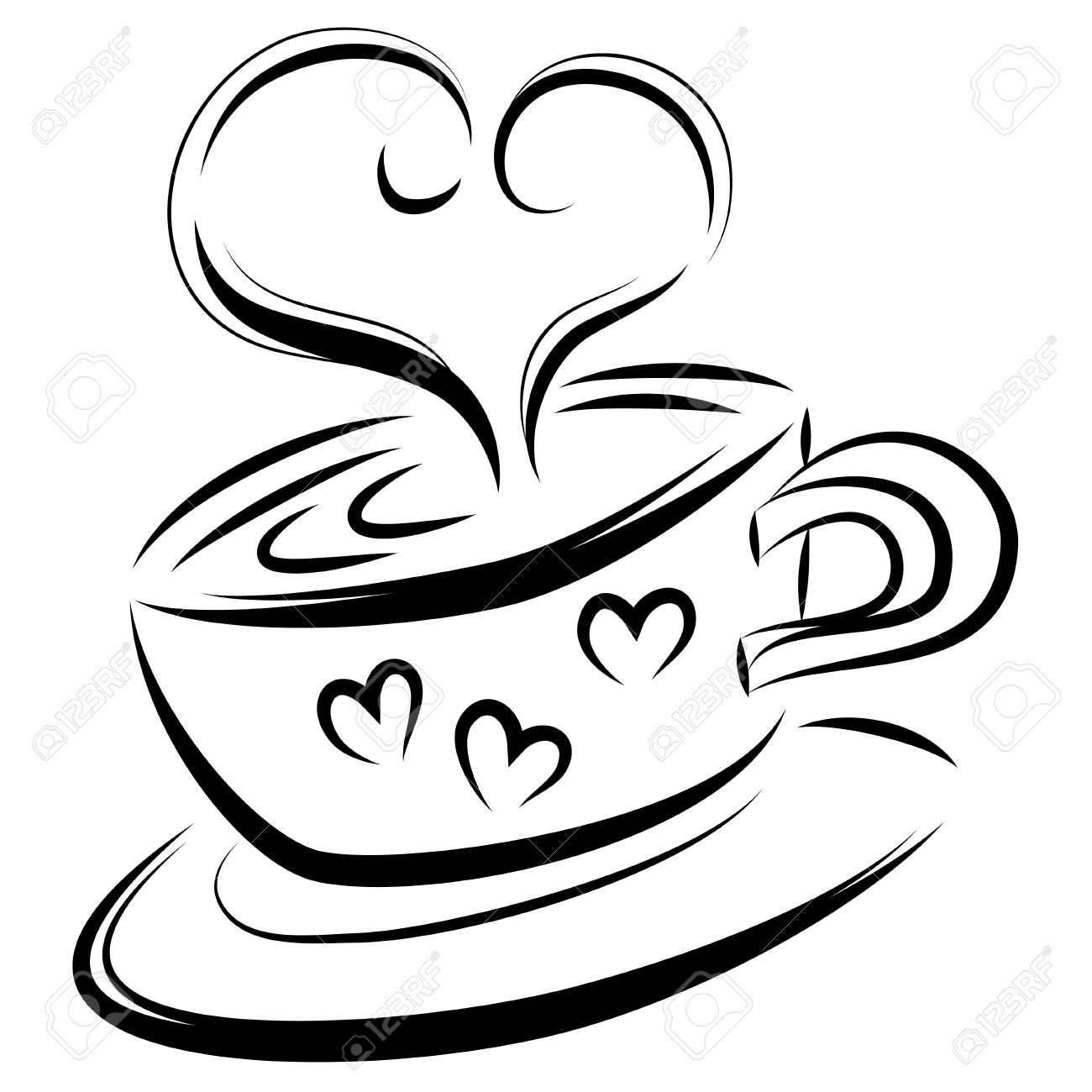 1300x1300 Love Coffee Line Art, Vector Illustration Royalty Free Cliparts
