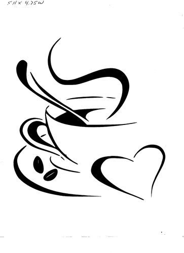363x500 Vinyl Decal Sticker Coffee Cup With Heart Coffee Cup, Cups