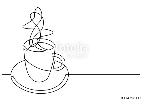 500x354 Continuous Line Drawing Of Cup Of Coffee Stock Image And Royalty