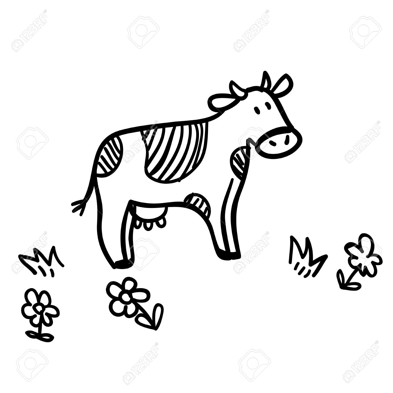 1300x1300 Cute Doodle Illustration With Funny Cow. Funny Cow Line Art