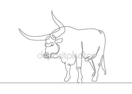 450x321 Continuous Line Drawing Bull Cow Stock Vector Derplan13