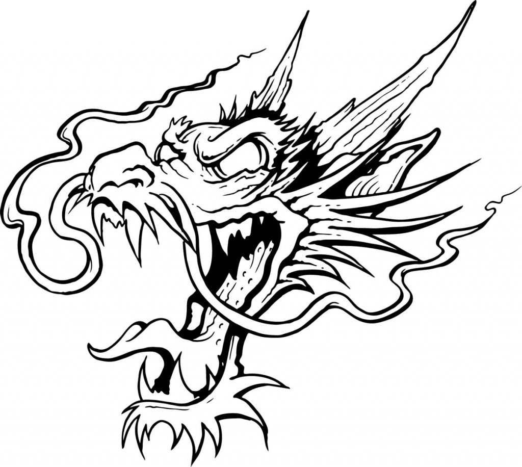1024x916 Line Drawing Of Dragon Line Drawing Dragon Clipart Best