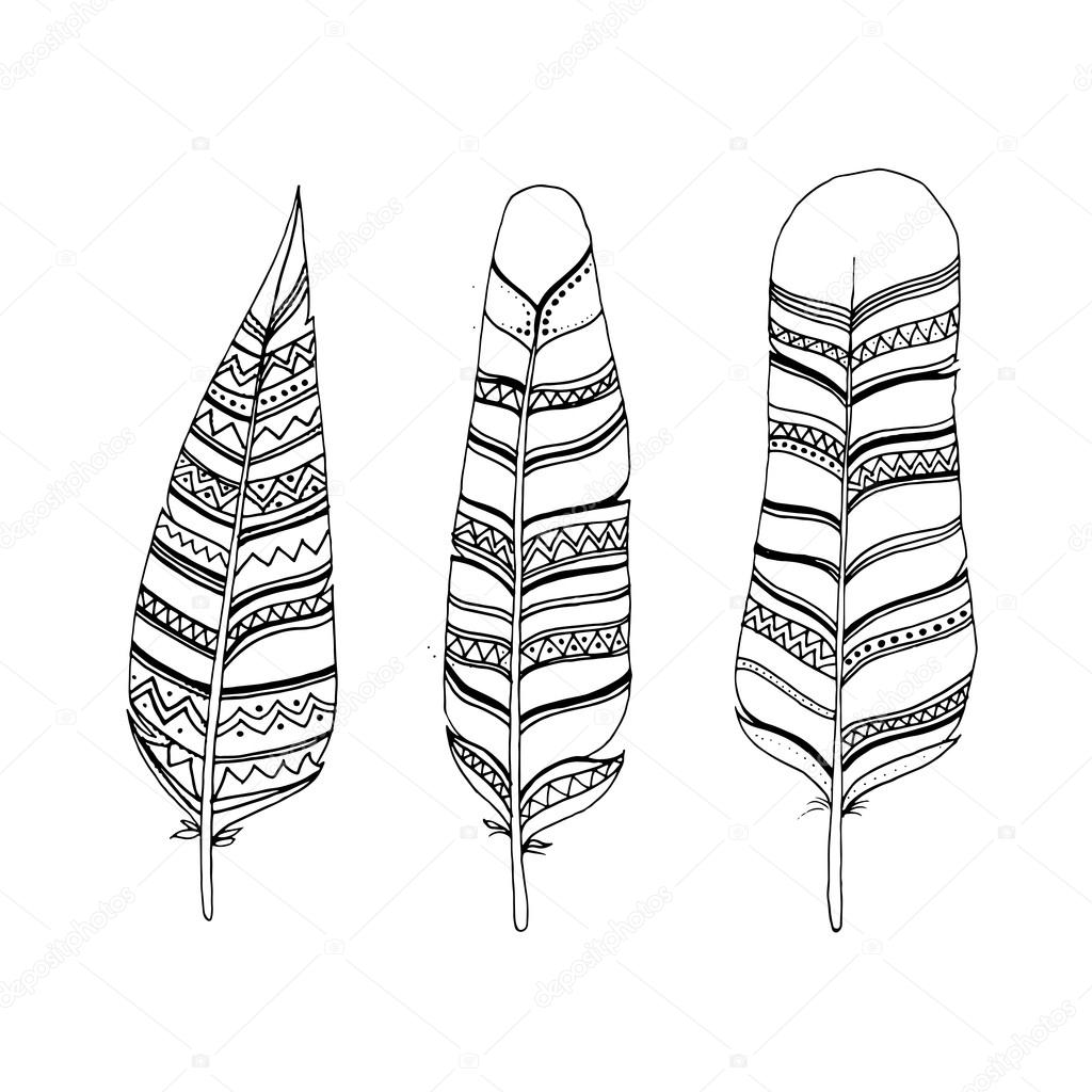 1024x1024 Sketch Hand Drawn Feathers Set. Line Art Feathers In Ethnic Indi