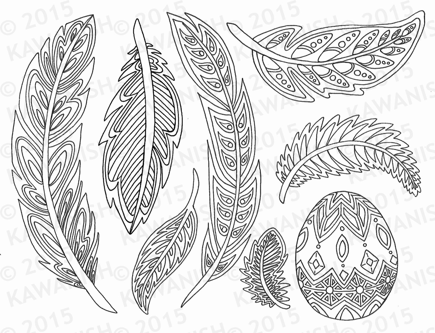 1500x1149 Feathers Coloring Page Gift Wall Art Line Drawing