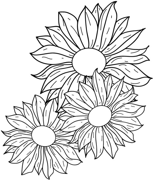 509x600 Flowers Line Drawing Free Vector In Adobe Illustrator Ai ( Ai