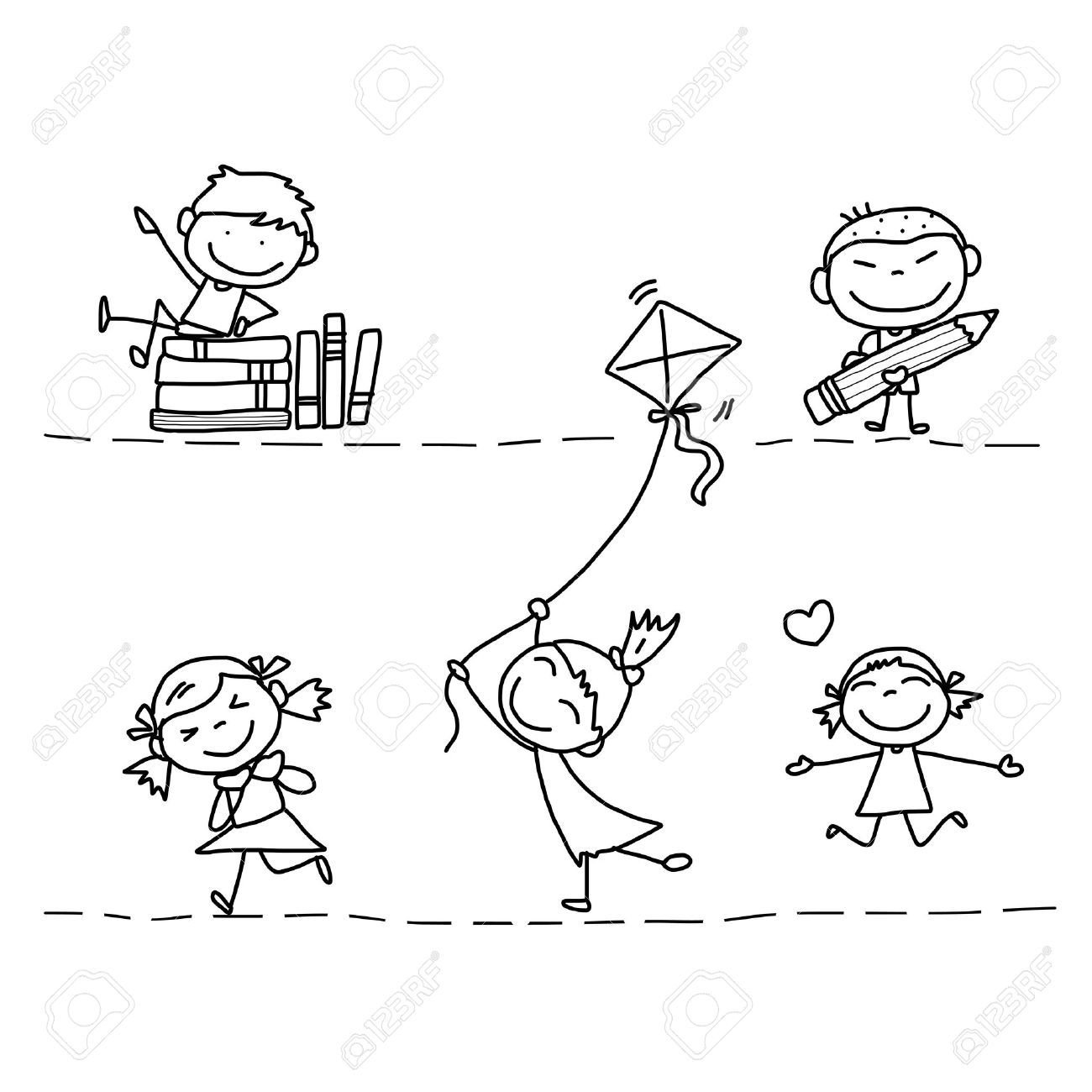 1300x1300 Photos Line Drawings Of Children Playing,