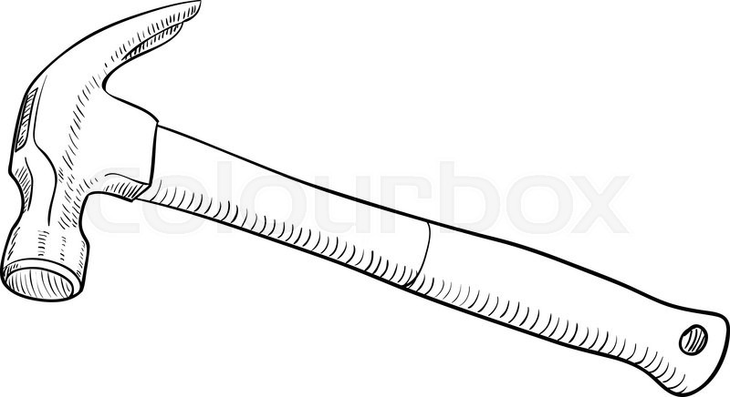 800x436 Simple Black And White Line Drawing Hammer Stock Vector Colourbox