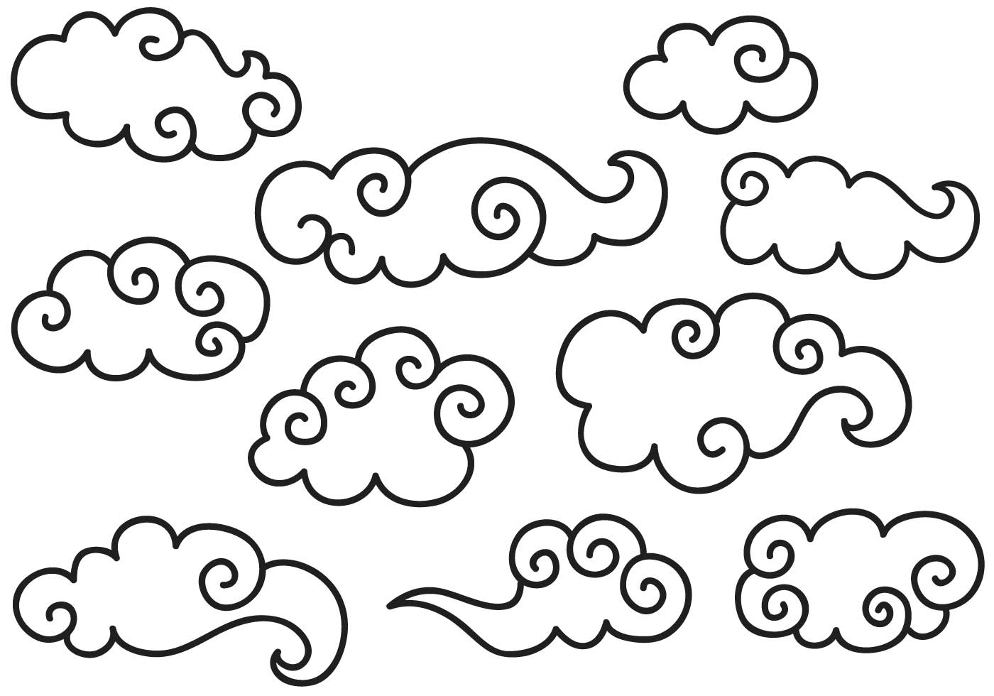 1400x980 Chinese Clouds Free Vector Art