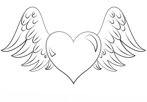480x333 Heart With Wings Coloring Page Free Printable Coloring Pages