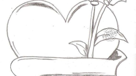 570x320 Pencil Sketch Of Heart Pencil Sketch Heart Stock Vector 57545281