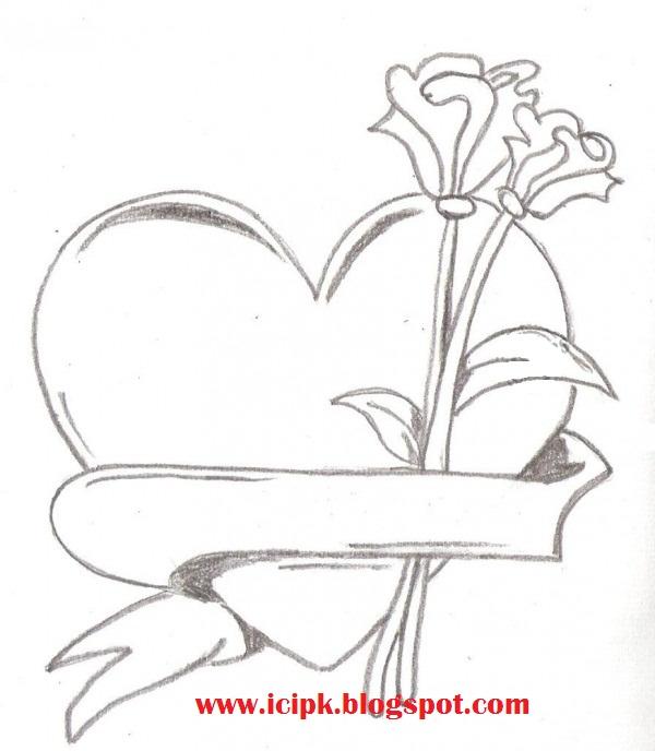 600x688 Drawn Pencil Heart