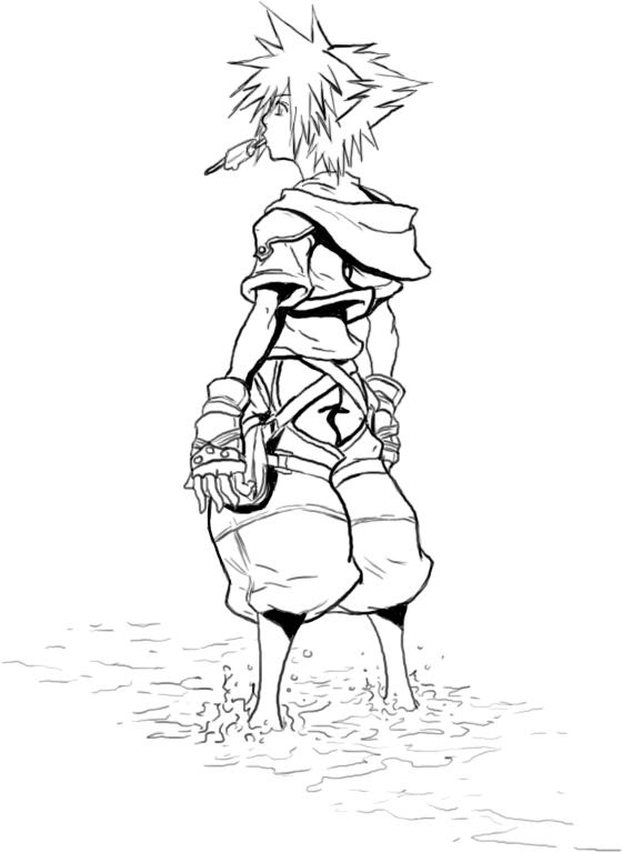 560x767 Kingdom Hearts 2 Line Art By Jake192