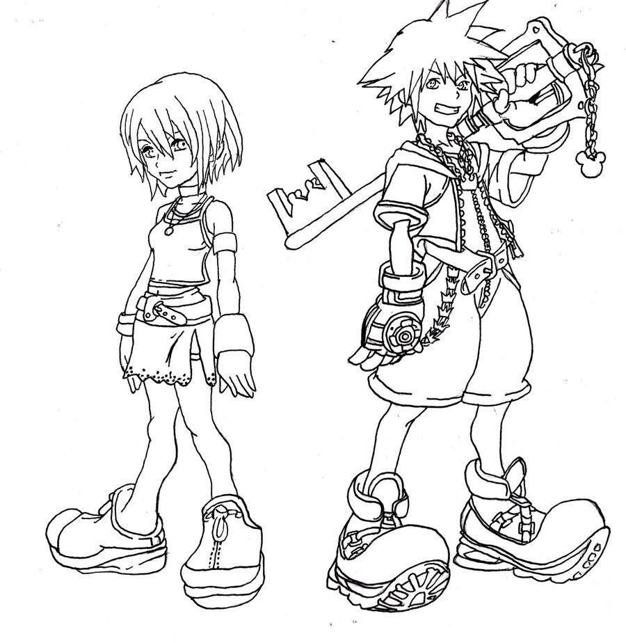 900x924 Kingdom Hearts Line Art By Kawaiibearz