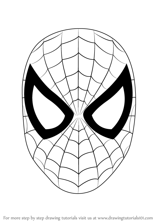 598x844 Learn How To Draw Spiderman Face (Spiderman) Step By Step