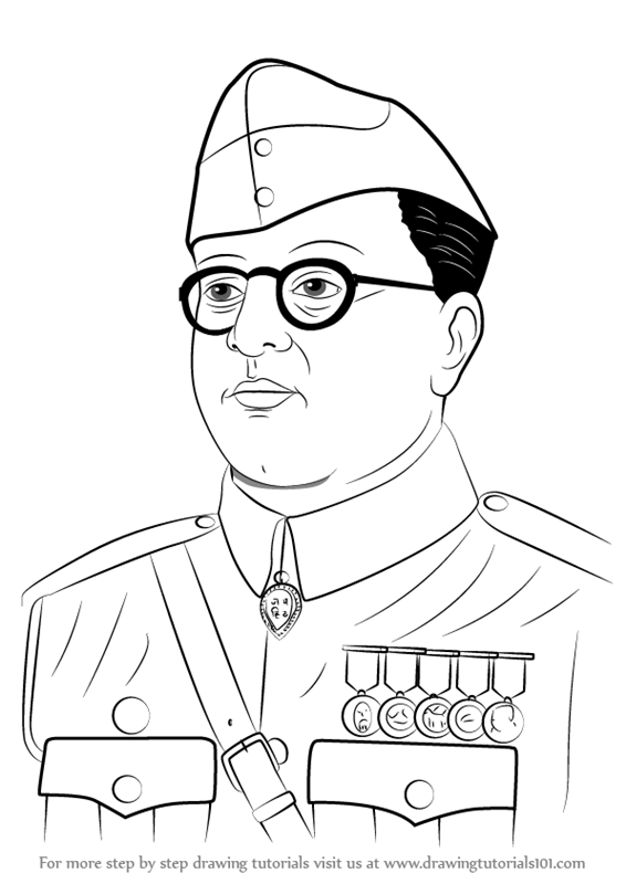 566x800 Learn How To Draw Subhash Chandra Bose (Famous People) Step By