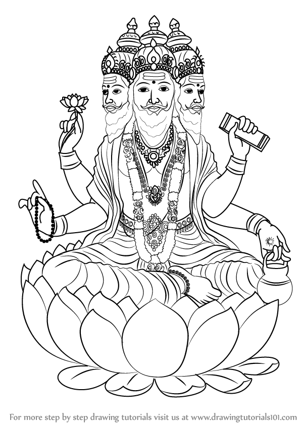 598x844 Learn How To Draw Brahma (Hinduism) Step By Step Drawing Tutorials