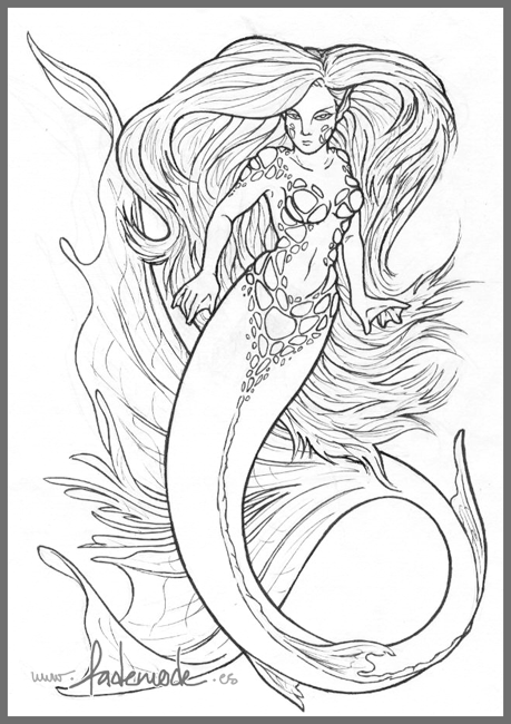 459x650 Mermaid Line Art By Fademode
