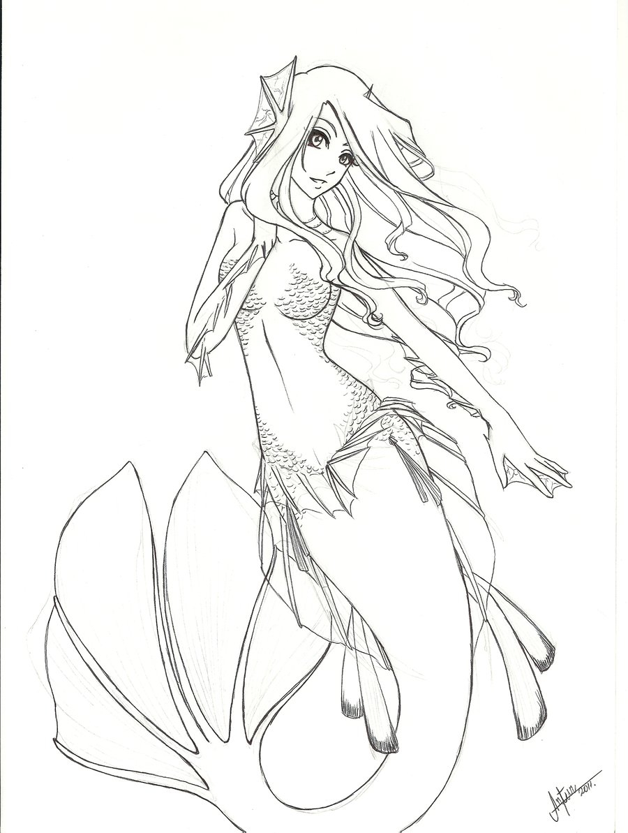 900x1193 Anime Mermaid Drawing How To Draw An Anime Mermaid, Step By Step