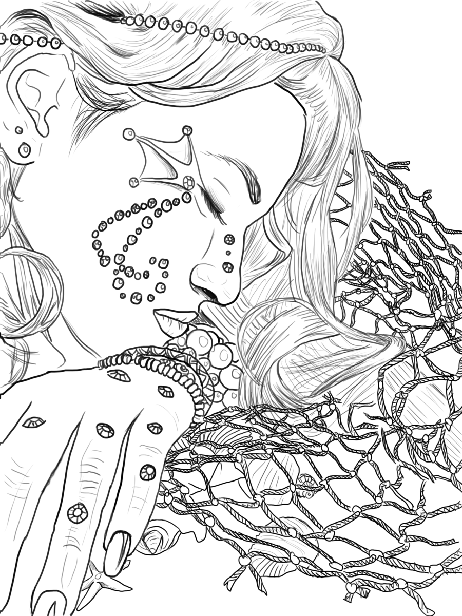 900x1200 Mermaid Line Art By Melyssah6 Stock