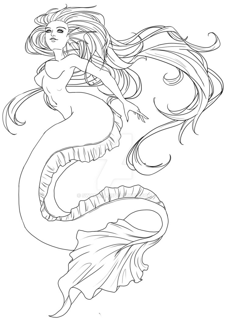 752x1063 Mermaid Line Art Wip By Swann74