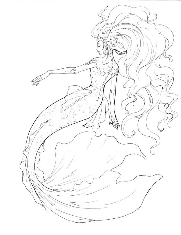 600x777 Mermaid Line Art By On @