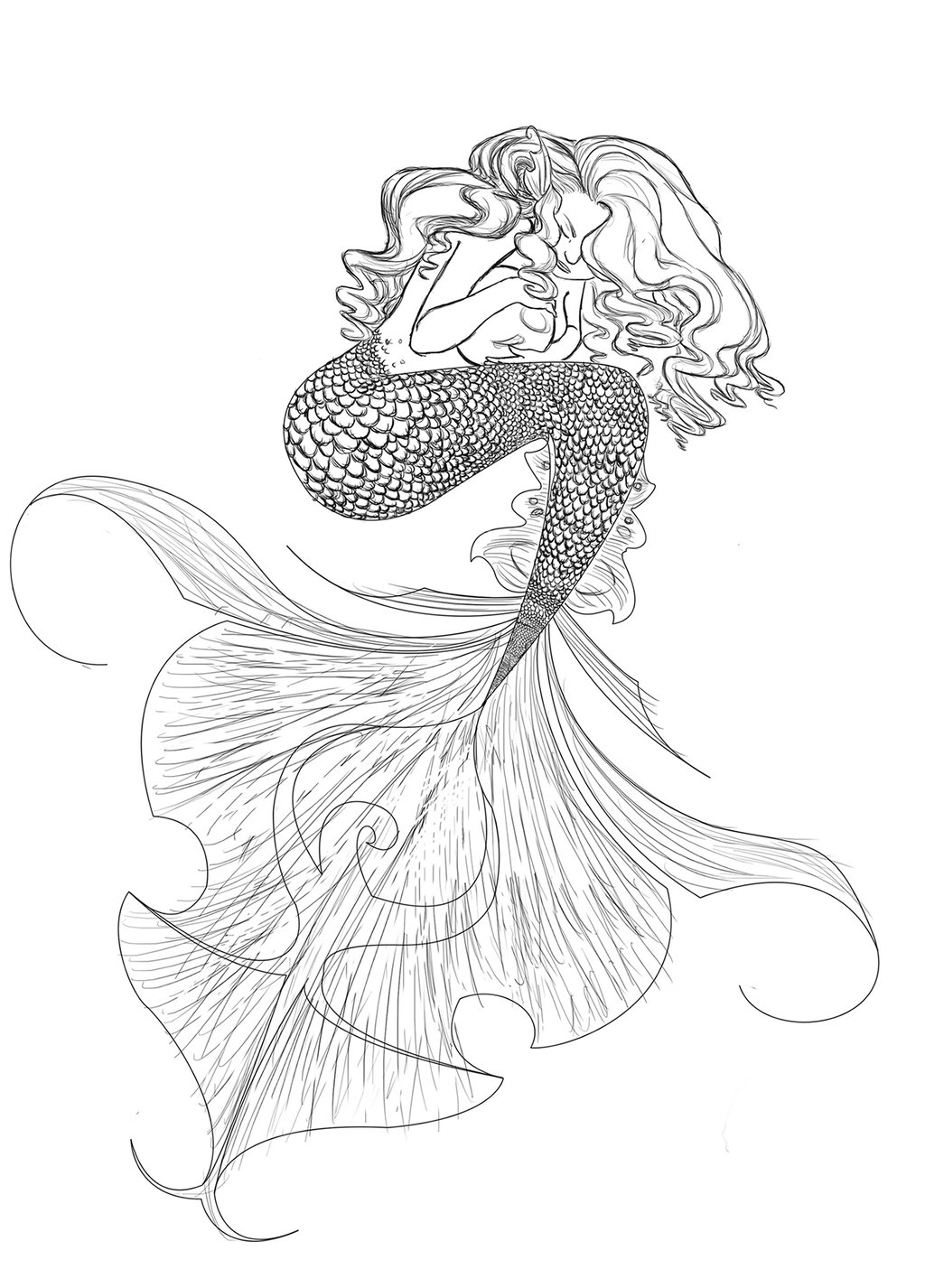 1024x1426 Mermaid Line Drawing By Jocegurr