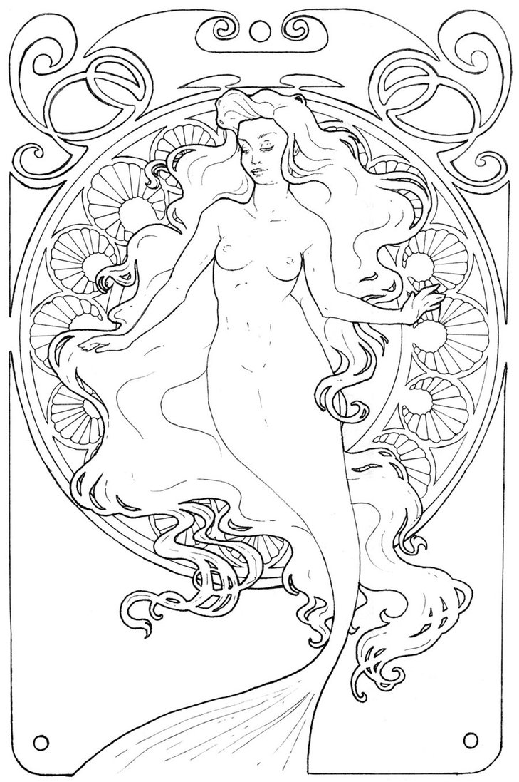 729x1097 Mucha Mermaid 2 By Chostopher
