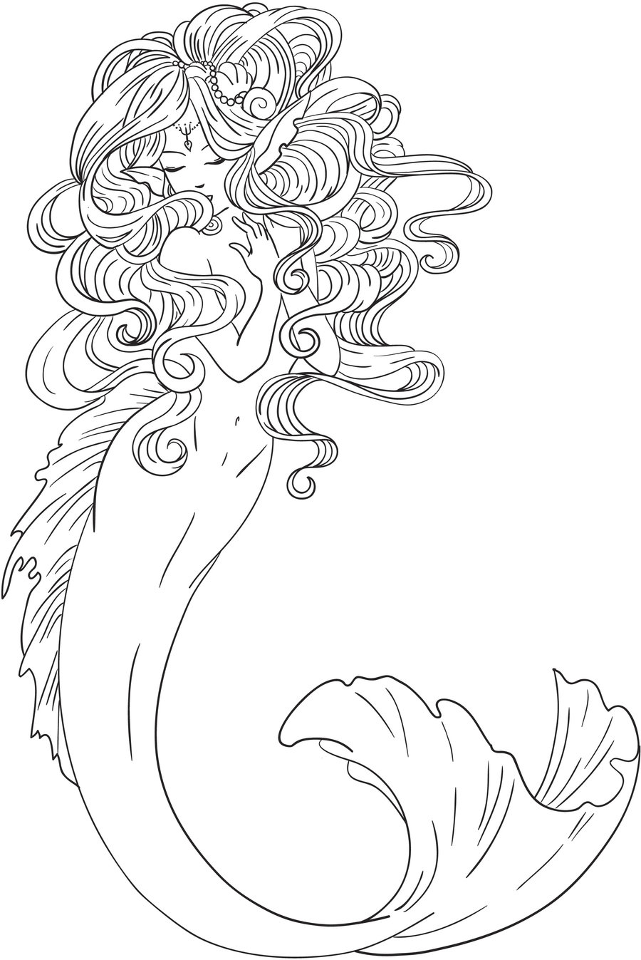 900x1347 Mucha Mermaid Line Art By Liquidfaestudios