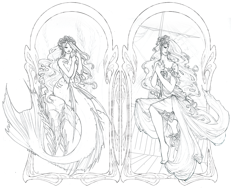 992x800 The Little Mermaid Lineart By Zephyri