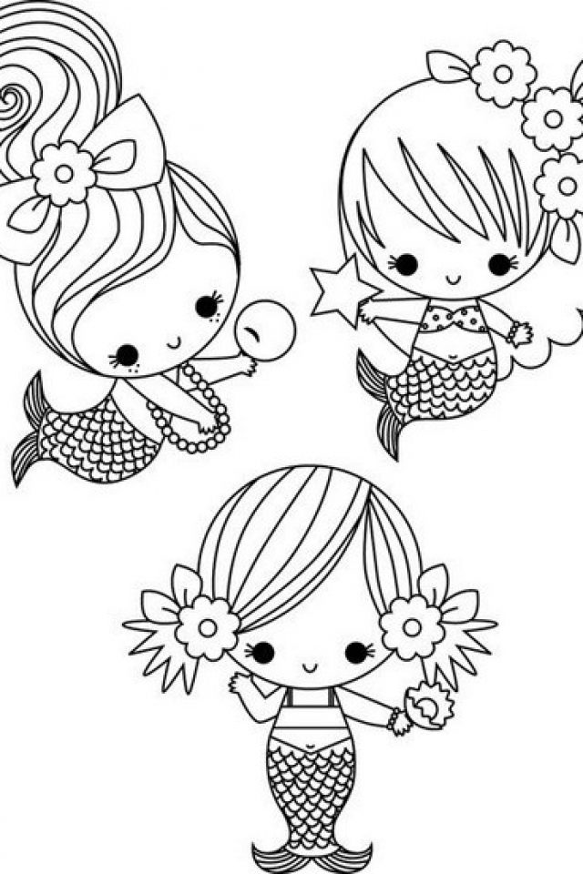 640x960 Perfect Cute Mermaid Coloring Pages 85 In Line Drawings With Cute