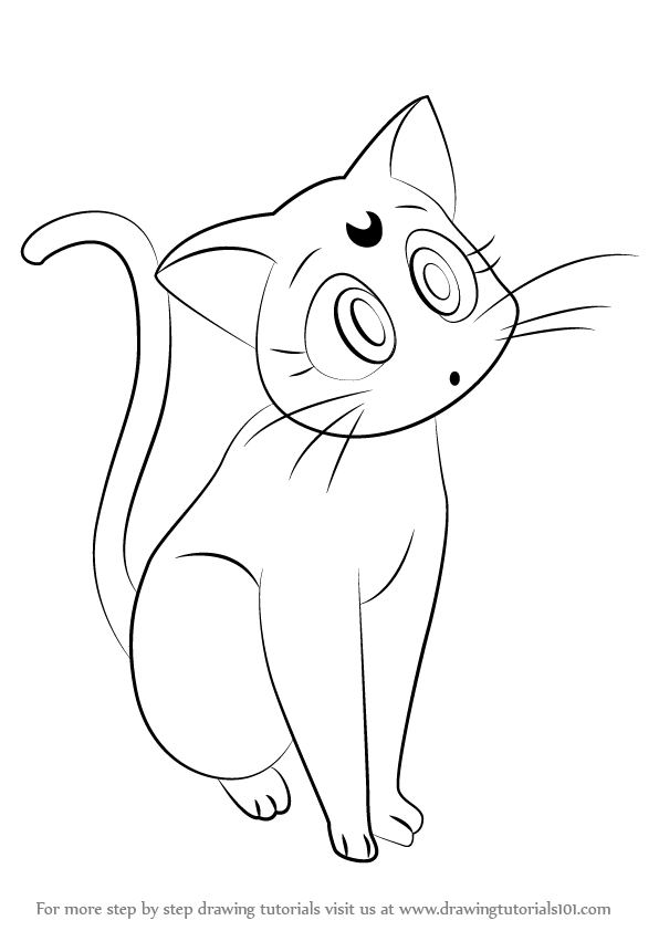 596x842 Learn How To Draw Luna From Sailor Moon (Sailor Moon) Step By Step