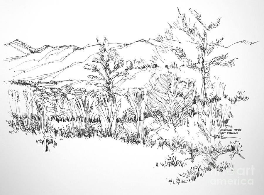 900x664 Mountains Landscape New Mexico Drawing By Robert Birkenes