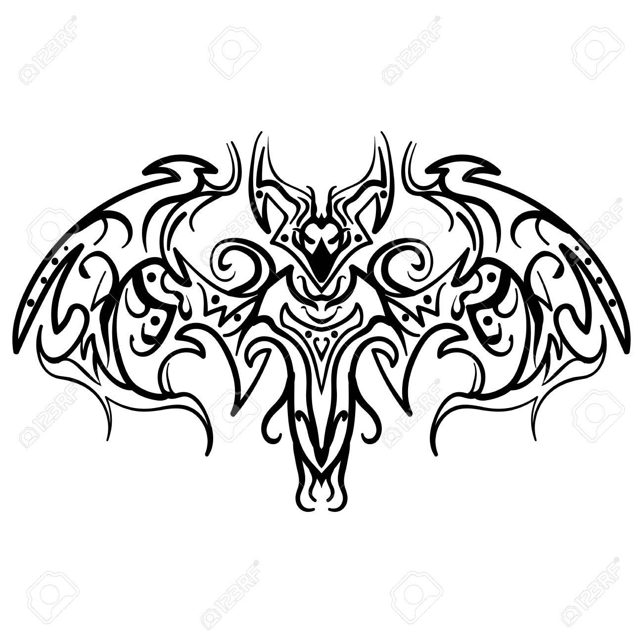 1300x1300 The Stylized Image Of A Doodle Bat. Vector Stylized Of Ink Sketch
