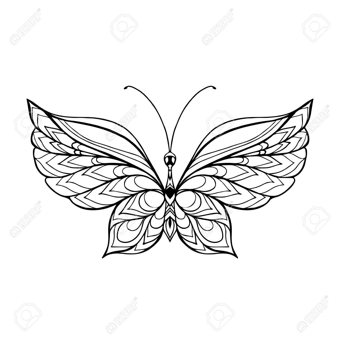 1299x1300 Decorative Butterfly. Coloring Book For Adult And Older Children