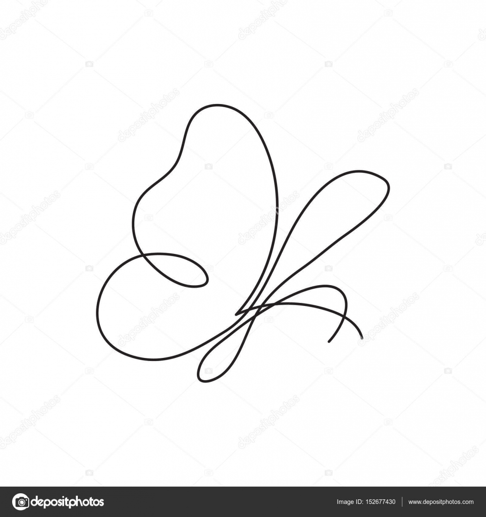 963x1024 Modern Continuous Line Butterfly. One Line Drawing Of Insect Form