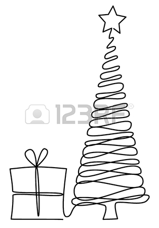 314x450 Christmas Tree One Line Drawing Royalty Free Cliparts, Vectors