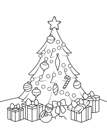 371x480 Christmas Tree With Presents Coloring Page Free Printable