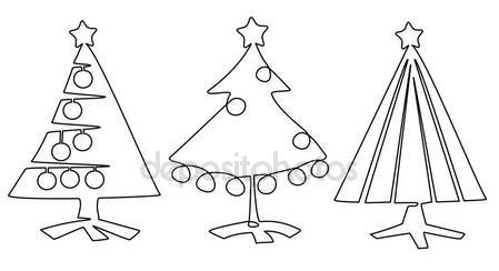 449x244 Christmas Tree One Line Drawing Stock Vector Agnieszka