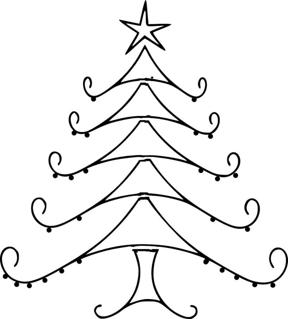 925x1024 Drawings For Christmas Christmas Tree Line Drawing Clipartsco
