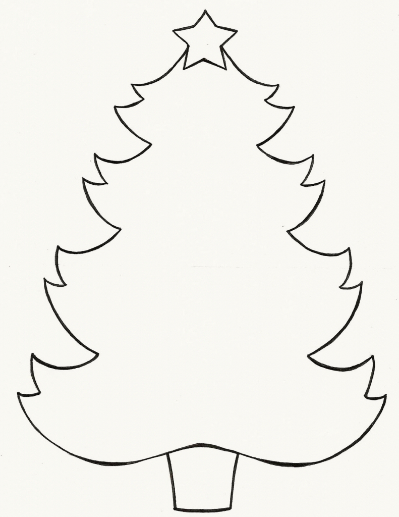 791x1024 Easy Christmas Tree Drawing Christmas Tree Line Drawing Clipartsco