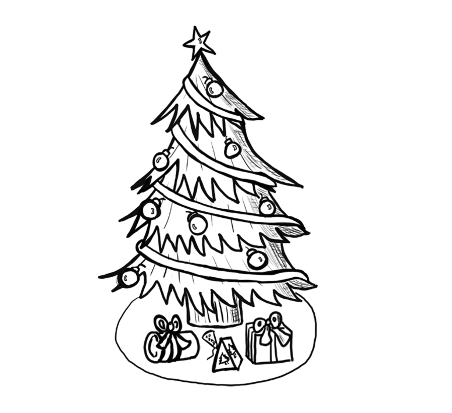 899x821 How To Draw Christmas Trees Step By Step Drawing Lesson