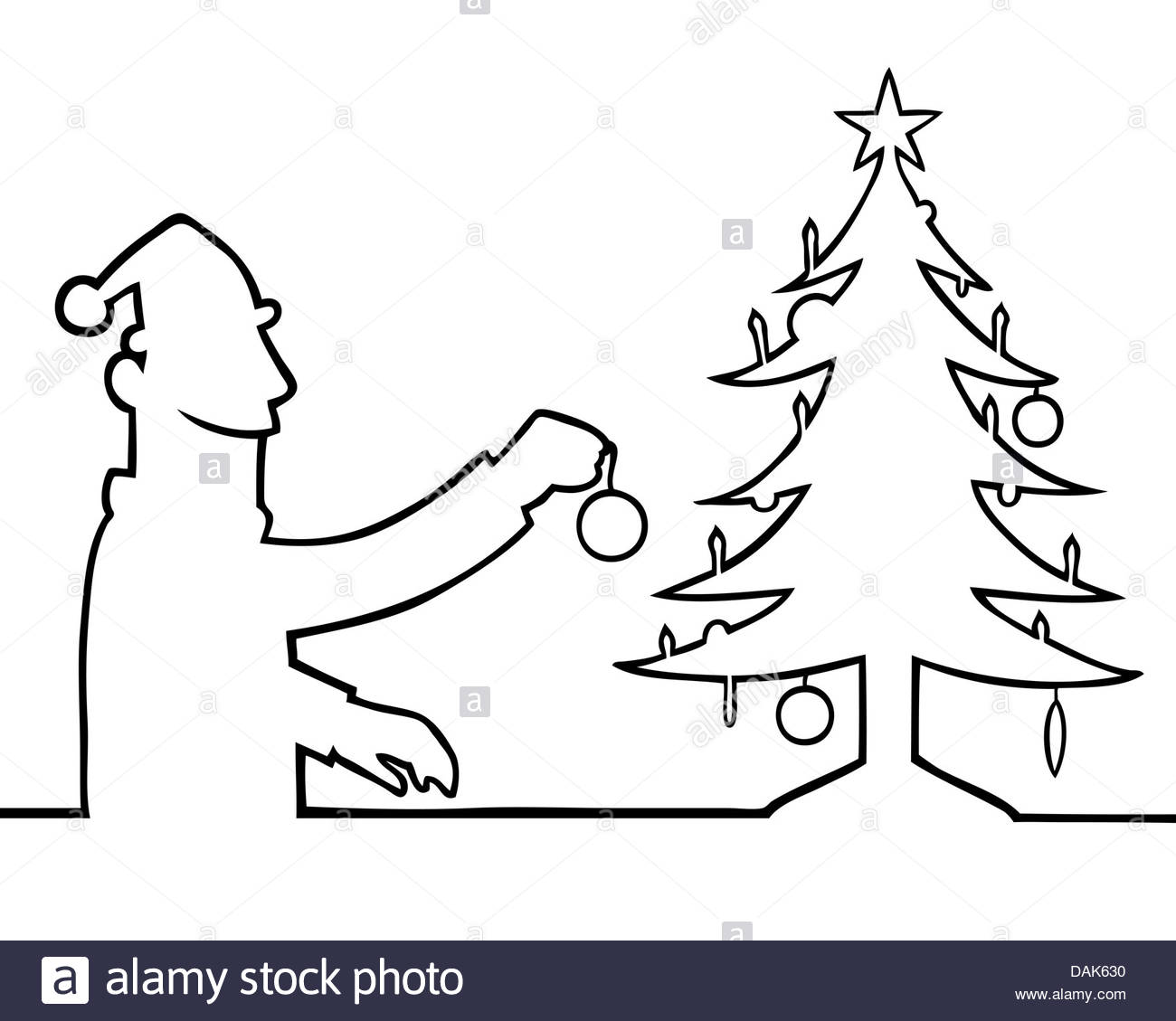 1300x1129 Black Line Art Illustration Of A Man Decorating A Christmas Tree
