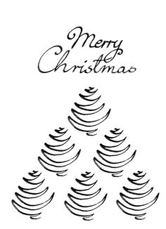 236x326 Minimalistic Black And White Christmas Card, Christmas Tree Line